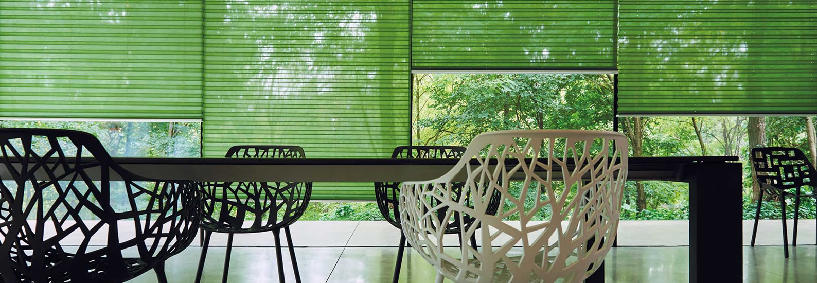 Int. Pleated blinds